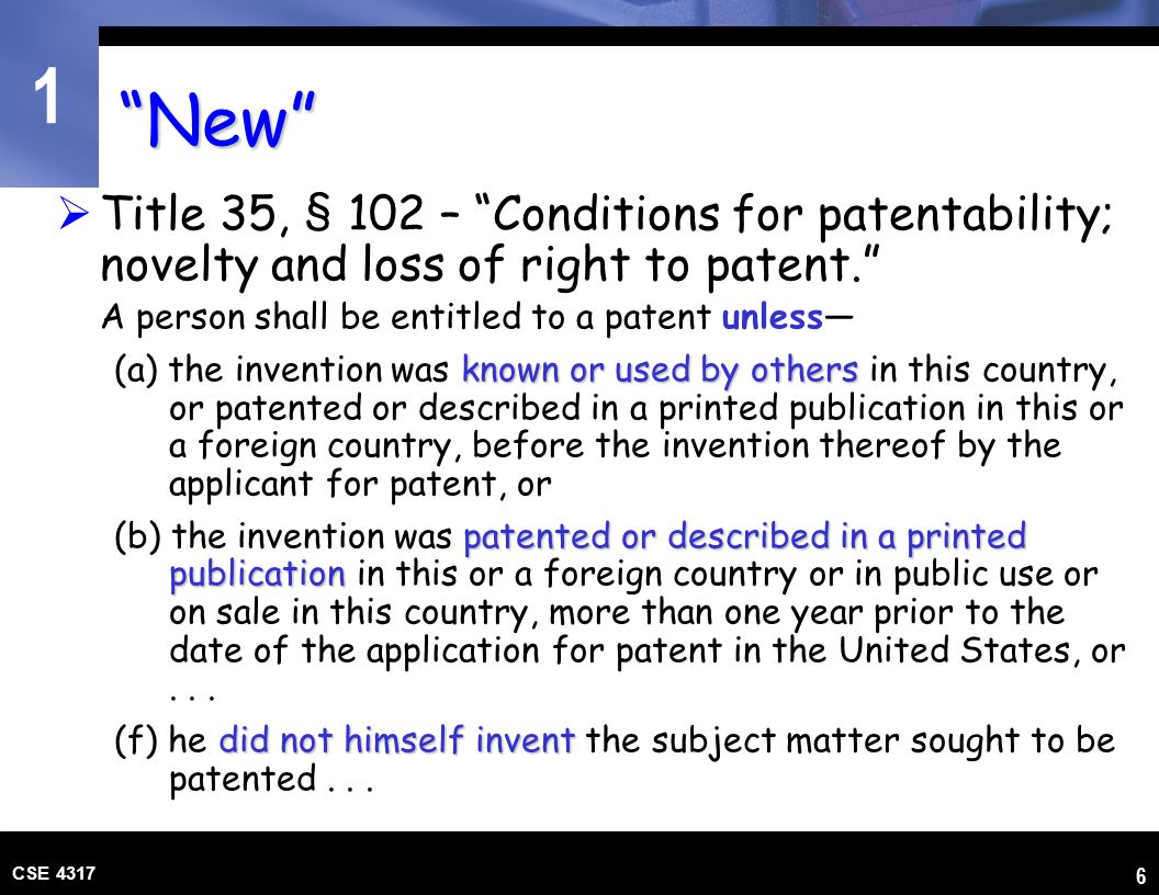 1 CSE 4317 37 The Claims  The claims section must begin with a statement such as  What I claim as my invention is:..., or  I (We) claim:...  Followed by the recitation of the particular matter the inventor regards as the invention.