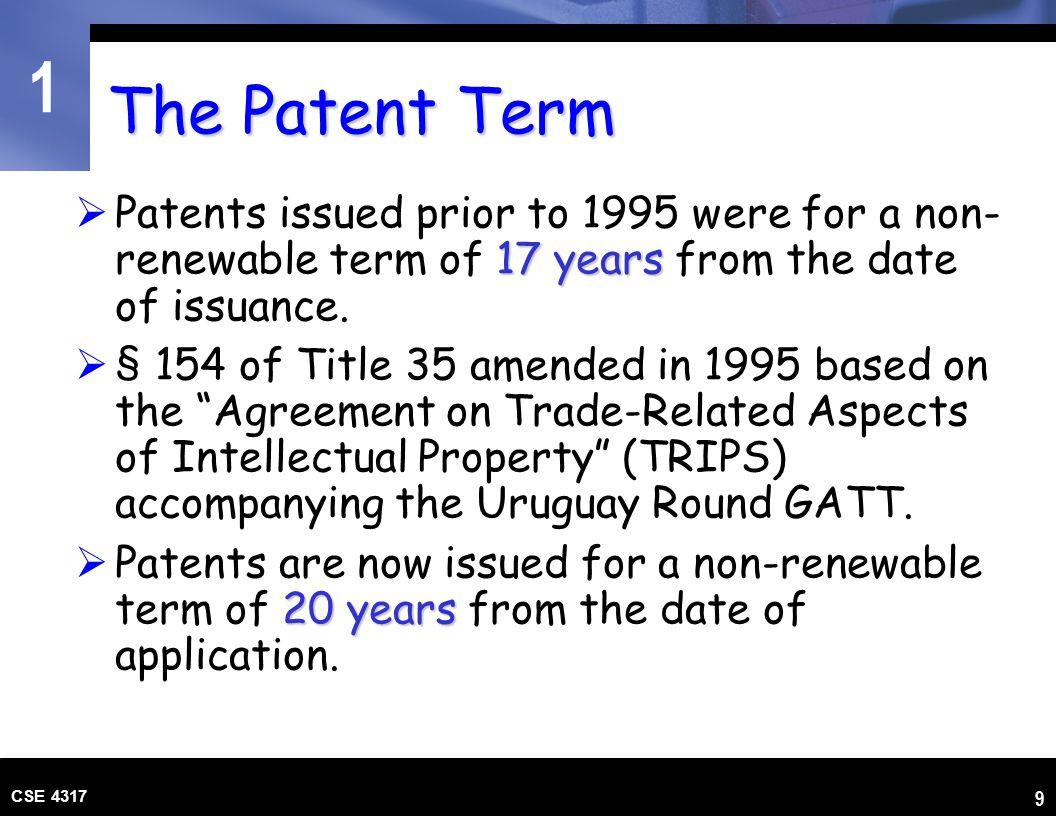 1 CSE 4317 10 The U.S.PTO governing U.S.