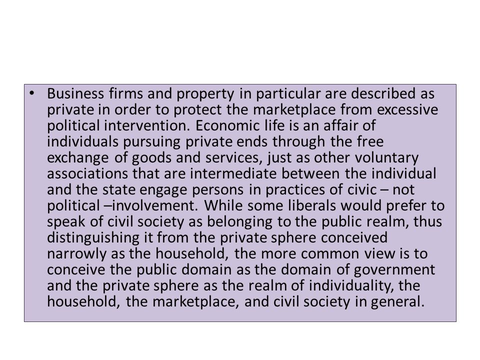 Business firms and property in particular are described as private in order to protect the marketplace from excessive political intervention.