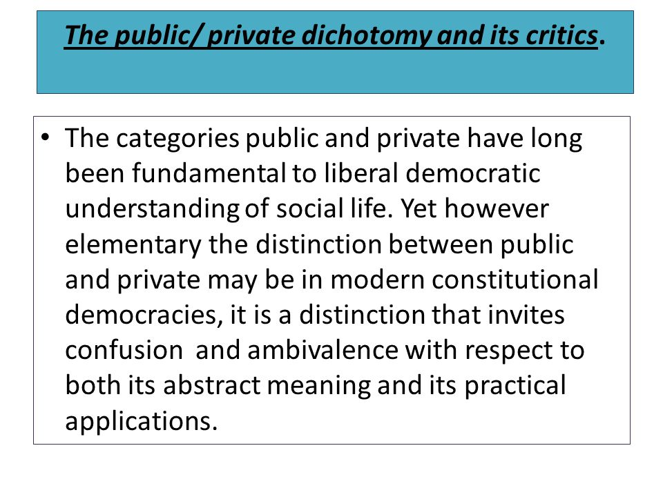 The public/ private dichotomy and its critics.