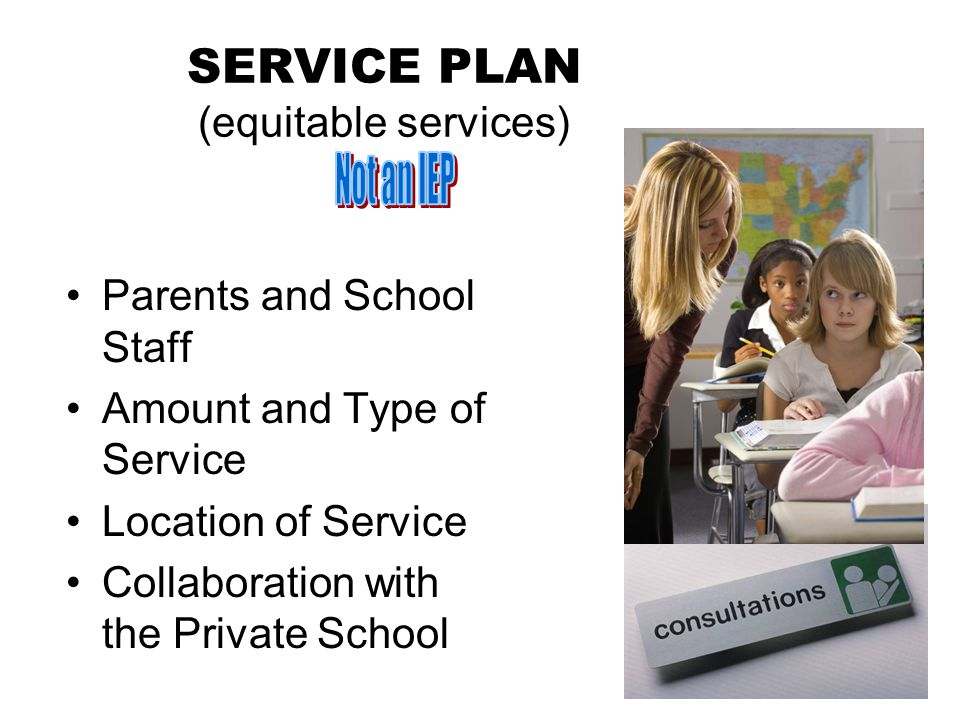 SERVICE PLAN (equitable services) Parents and School Staff Amount and Type of Service Location of Service Collaboration with the Private School