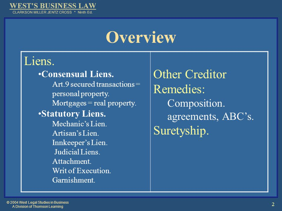 © 2004 West Legal Studies in Business A Division of Thomson Learning 2 Overview Liens. Consensual Liens. Art.9 secured transactions = personal propert