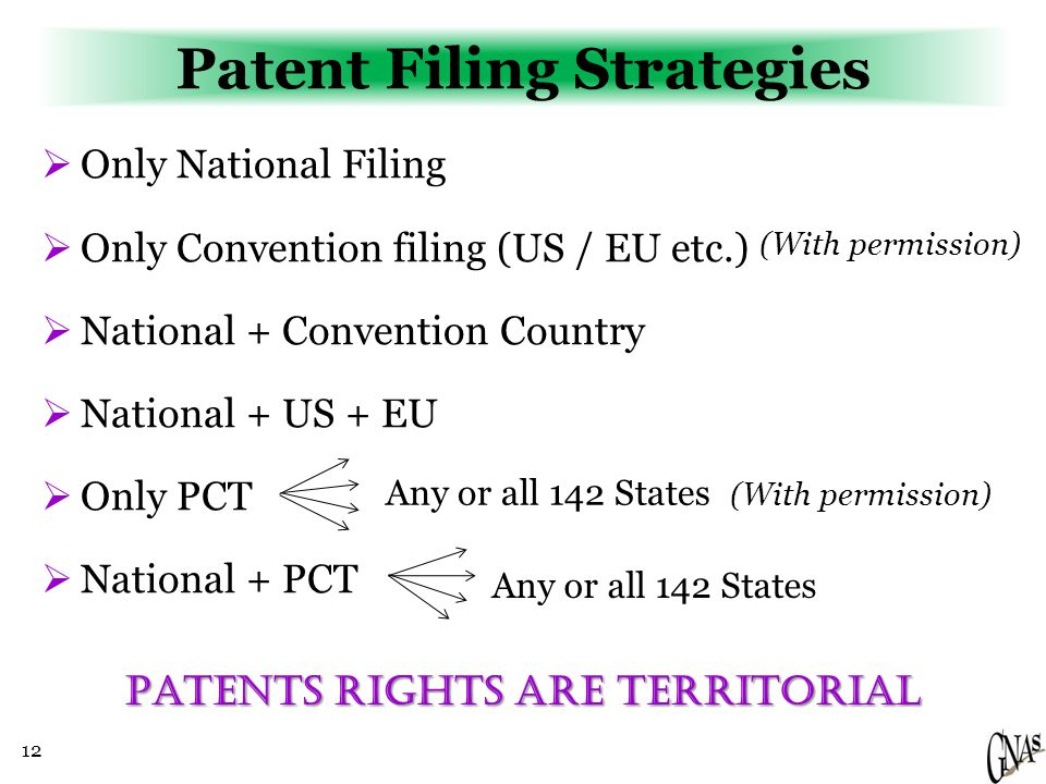 12 Patent Filing Strategies  Only National Filing  Only Convention filing (US / EU etc.)  National + Convention Country  National + US + EU  Only PCT  National + PCT Any or all 142 States Patents RIGHTS ARE TERRITORIAL (With permission)