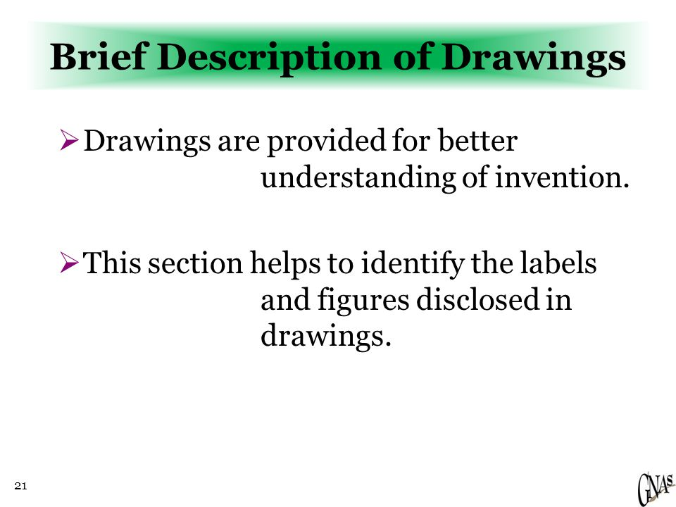 21 Brief Description of Drawings  Drawings are provided for better understanding of invention.