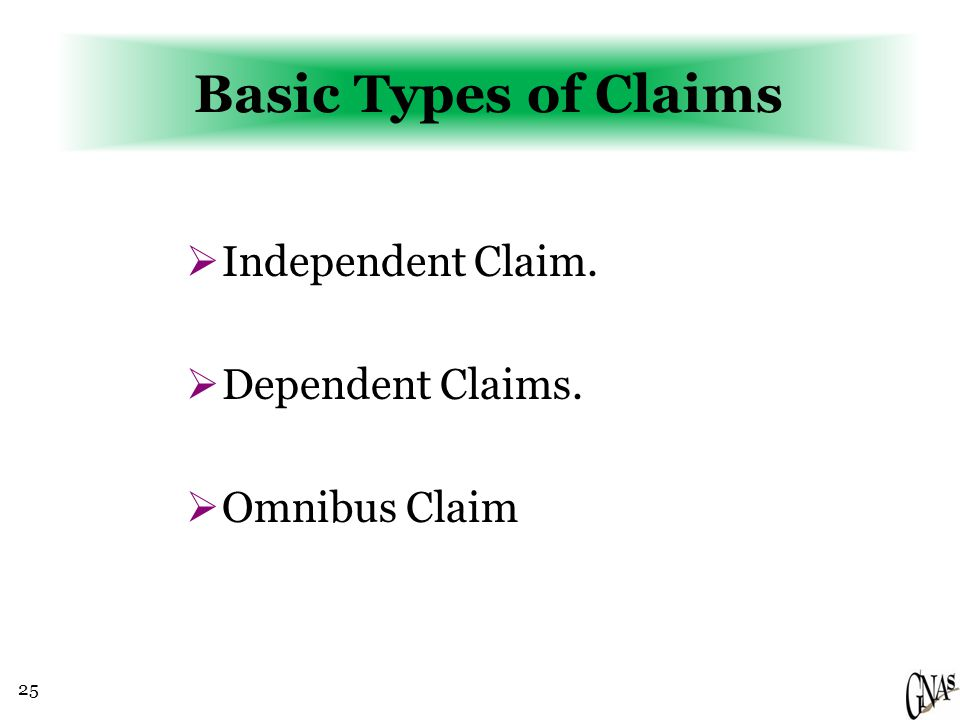 25 Basic Types of Claims  Independent Claim.  Dependent Claims.  Omnibus Claim