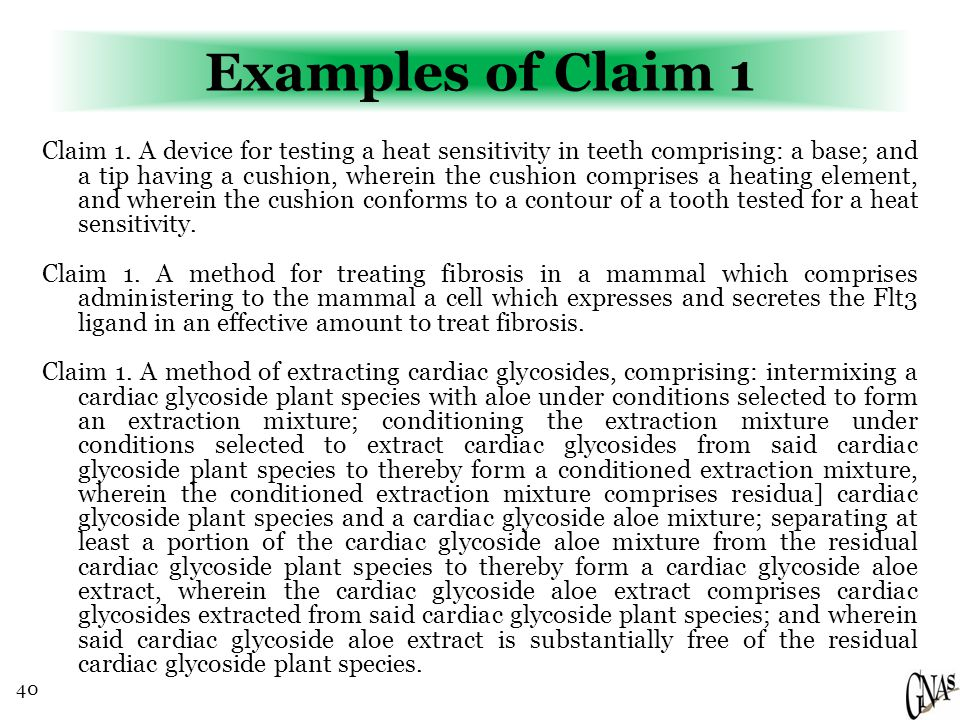 40 Examples of Claim 1 Claim 1.