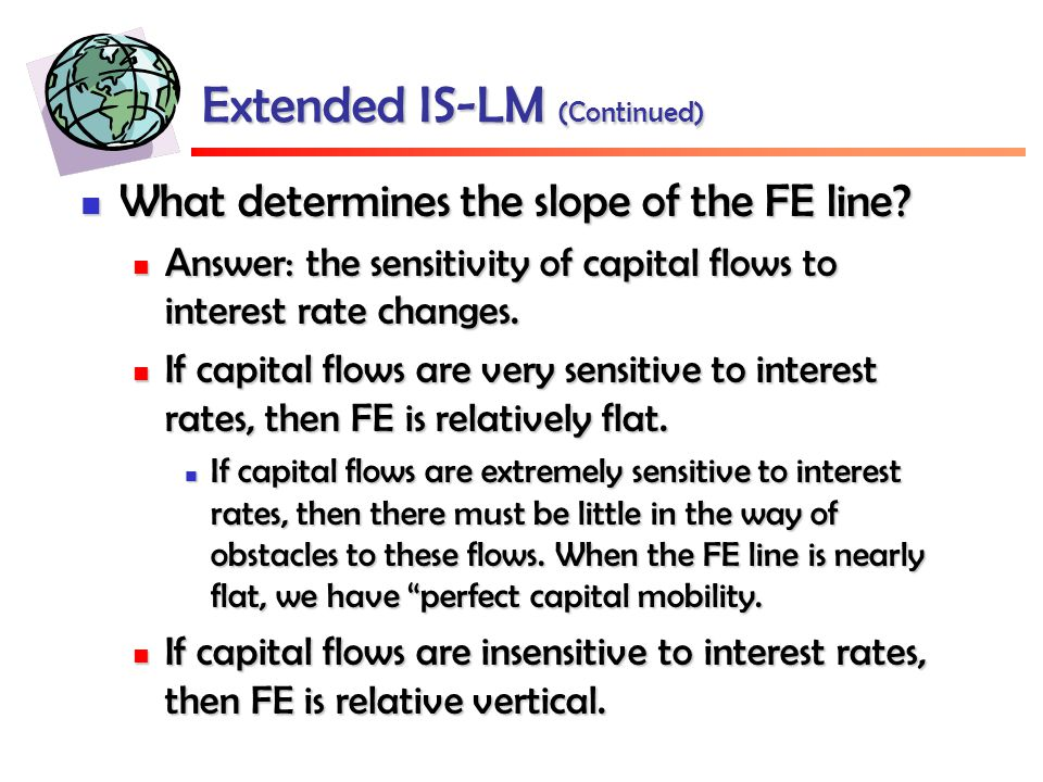 Extended IS-LM (Continued) What determines the slope of the FE line.
