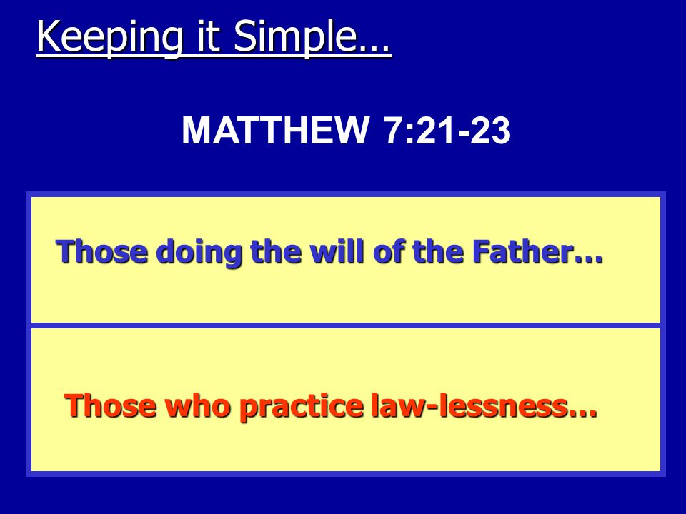 Keeping it Simple… Those doing the will of the Father… Those who practice law-lessness… MATTHEW 7:21-23