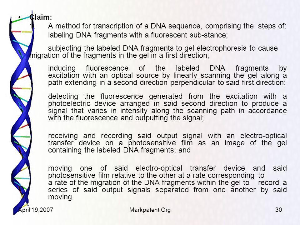 April 19,2007Markpatent.Org30 Claim: 1.