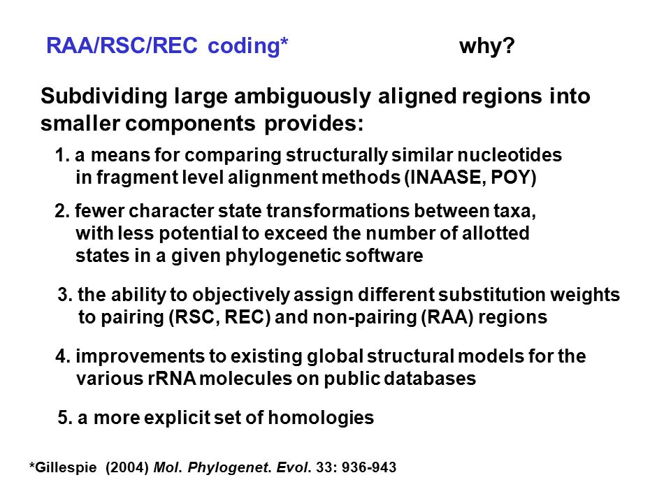 RAA/RSC/REC coding* Subdividing large ambiguously aligned regions into smaller components provides: why? 1. a means for comparing structurally similar