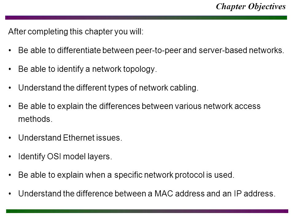 Chapter Objectives (cont.) After completing this chapter you will: Be able to correctly apply IP addressing concepts.