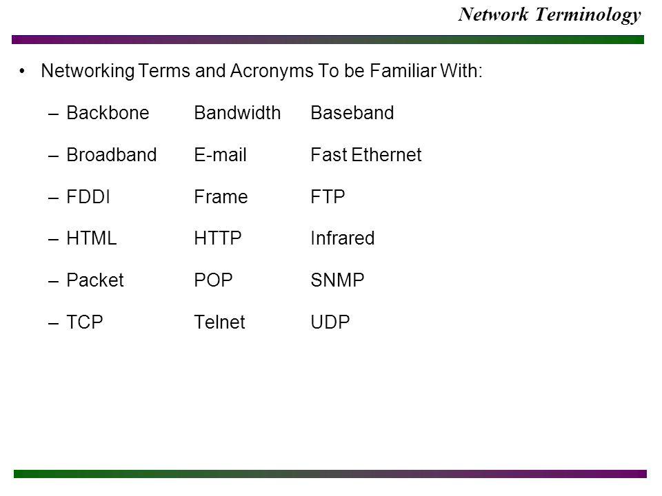 Network Terminology Networking Terms and Acronyms To be Familiar With: –BackboneBandwidthBaseband –BroadbandE-mailFast Ethernet –FDDI FrameFTP –HTMLHT