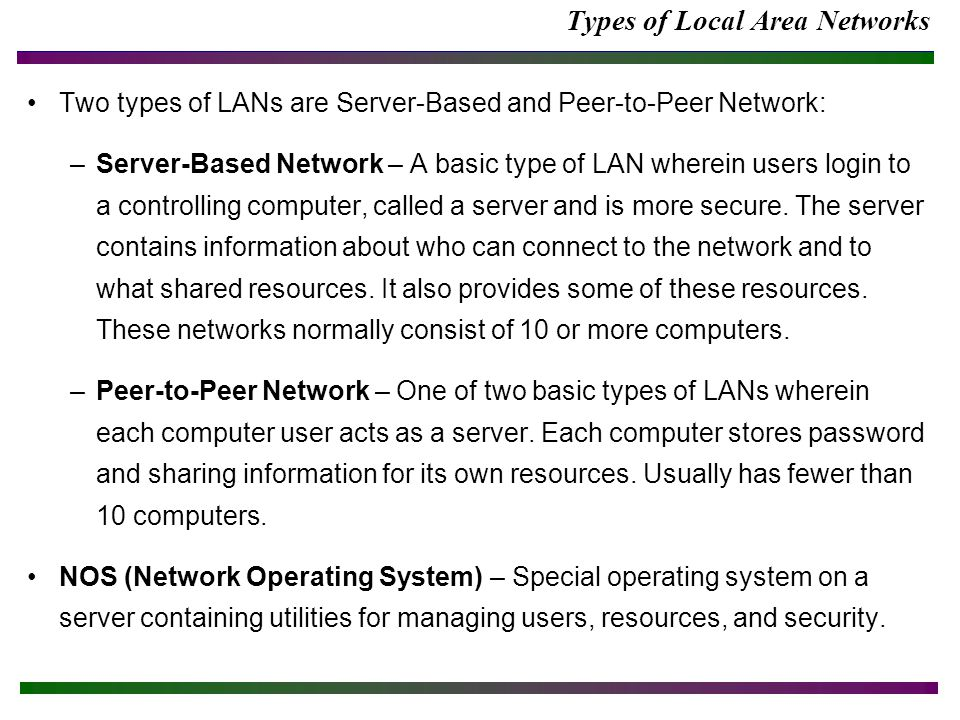Types of Local Area Networks Two types of LANs are Server-Based and Peer-to-Peer Network: –Server-Based Network – A basic type of LAN wherein users login to a controlling computer, called a server and is more secure.