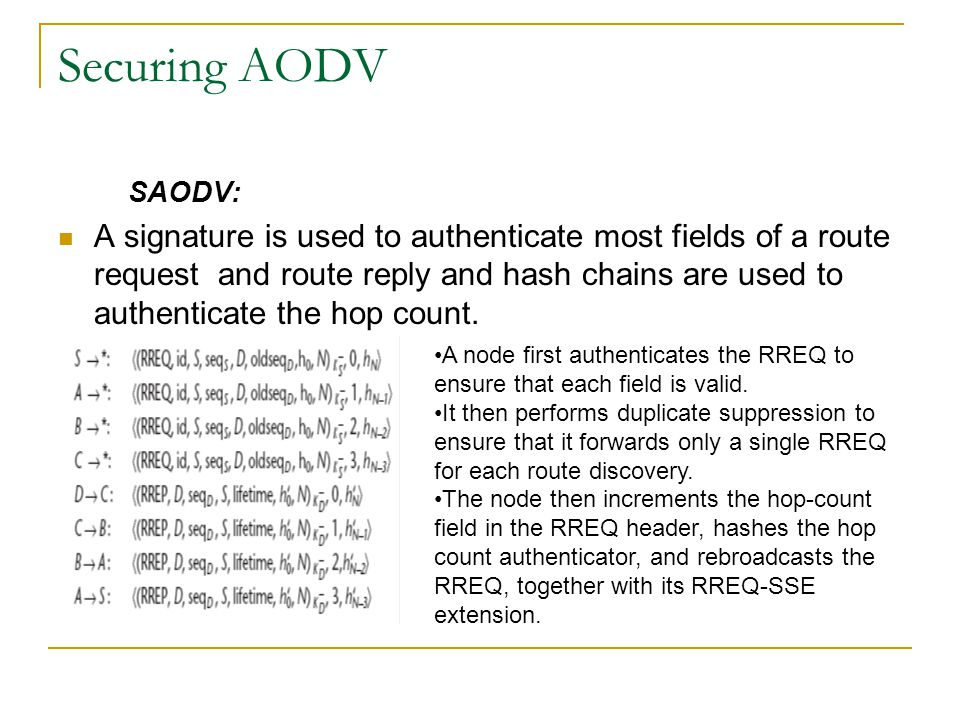 Securing AODV SAODV: A signature is used to authenticate most fields of a route request and route reply and hash chains are used to authenticate the h