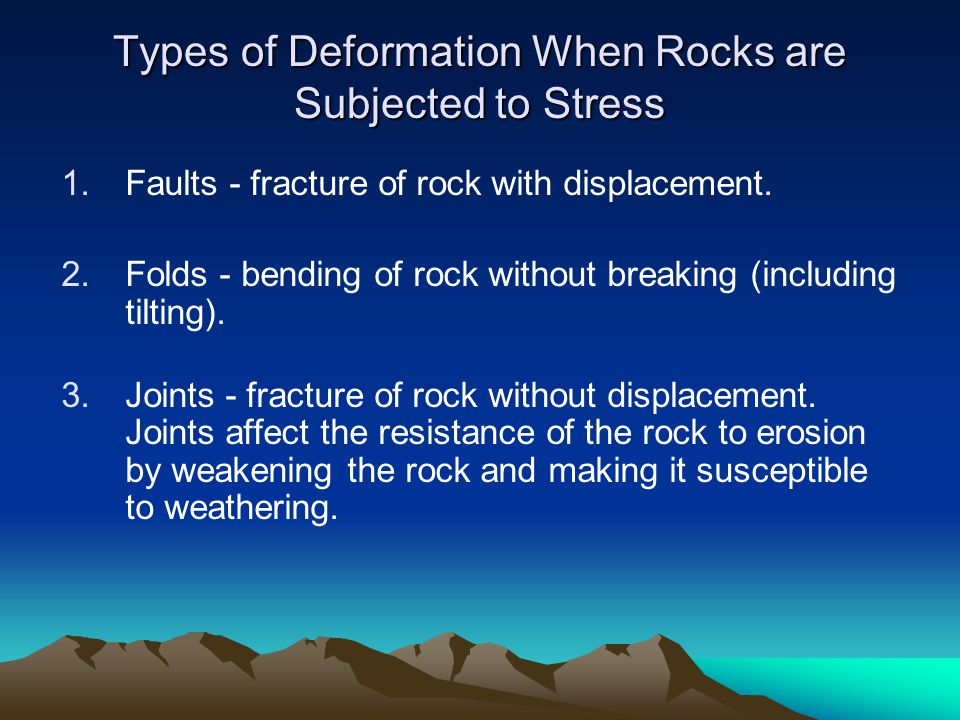1.Faults - fracture of rock with displacement. 2.Folds - bending of rock without breaking (including tilting). 3.Joints - fracture of rock without dis