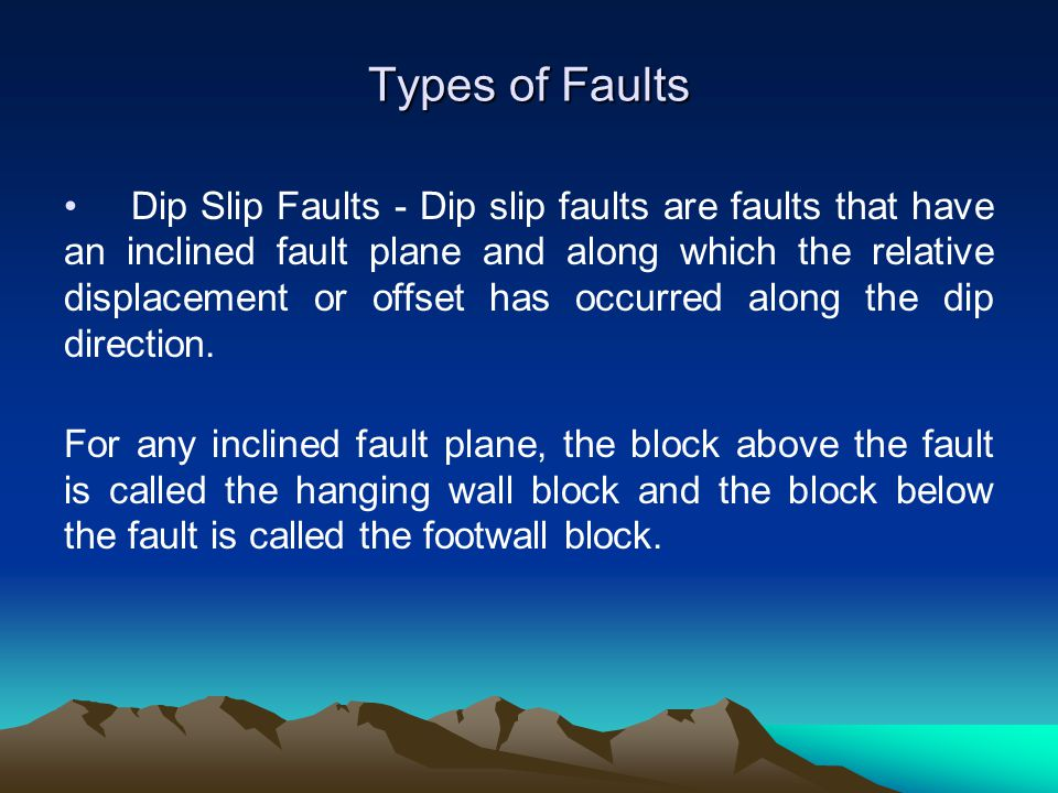 Dip Slip Faults - Dip slip faults are faults that have an inclined fault plane and along which the relative displacement or offset has occurred along
