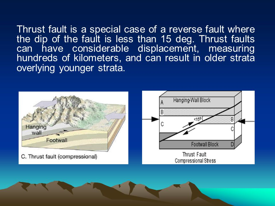 Thrust fault is a special case of a reverse fault where the dip of the fault is less than 15 deg. Thrust faults can have considerable displacement, me