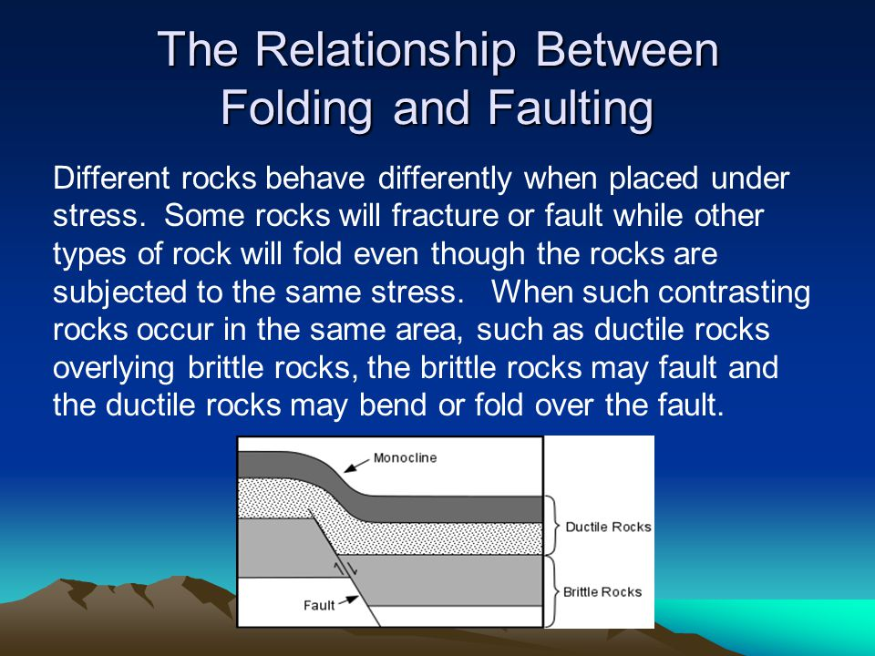 The Relationship Between Folding and Faulting Different rocks behave differently when placed under stress. Some rocks will fracture or fault while oth