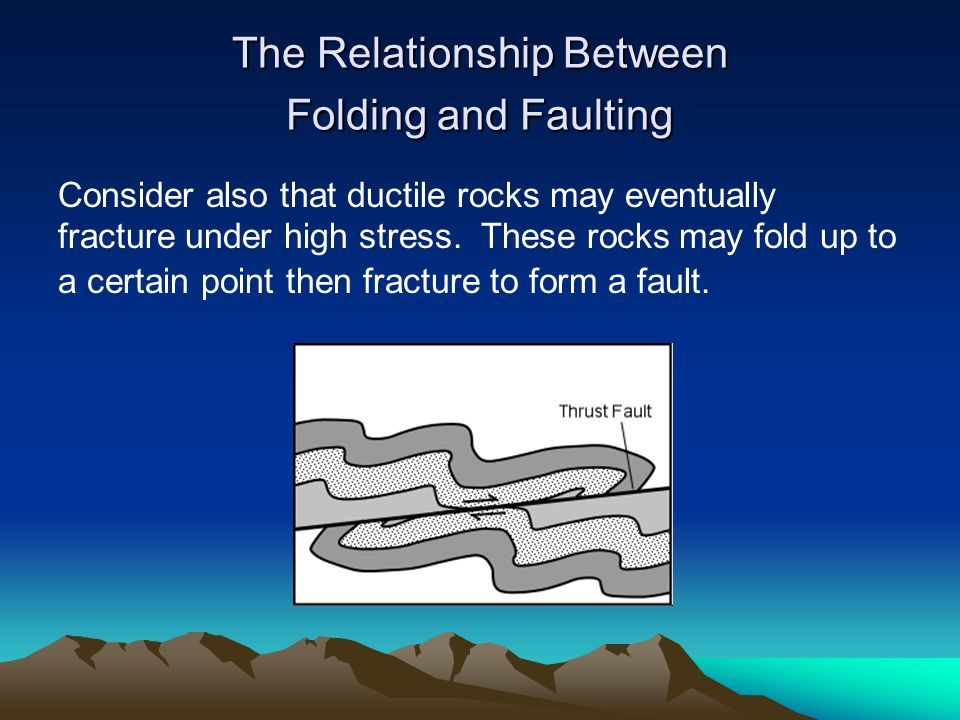 The Relationship Between Folding and Faulting Consider also that ductile rocks may eventually fracture under high stress. These rocks may fold up to a