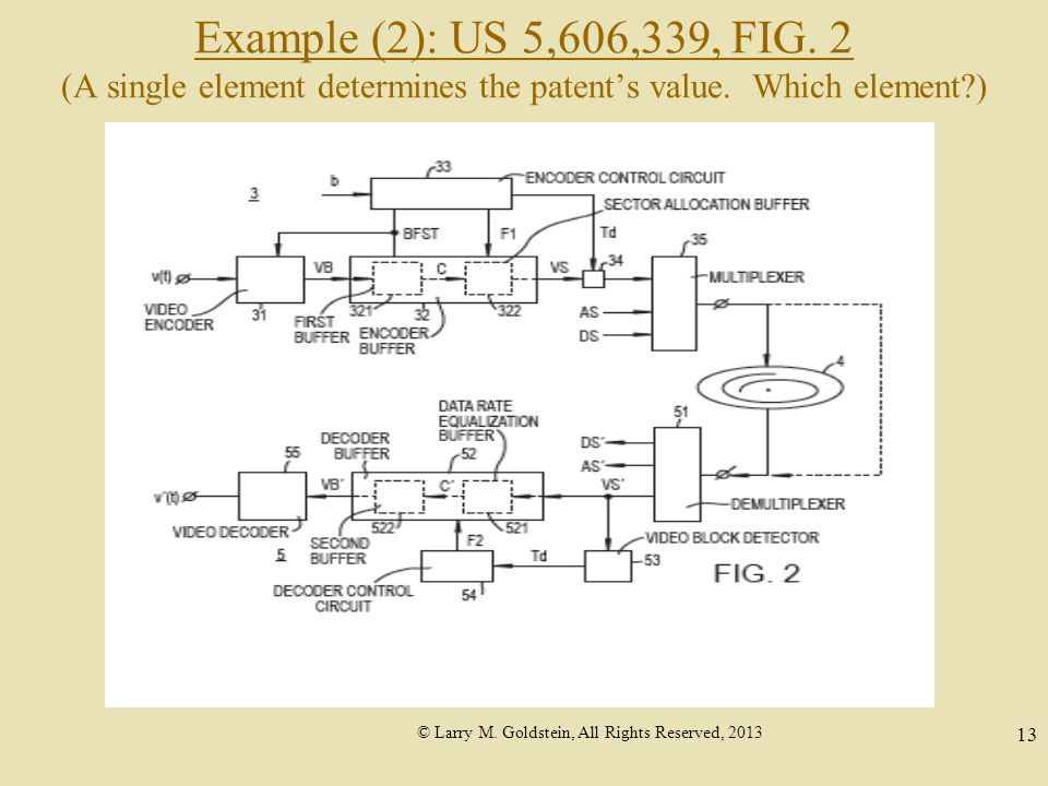 © Larry M. Goldstein, All Rights Reserved, 2013 13 Example (2): US 5,606,339, FIG.