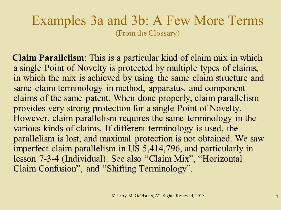 © Larry M. Goldstein, All Rights Reserved, 2013 14 Examples 3a and 3b: A Few More Terms (From the Glossary) Claim Parallelism: This is a particular ki