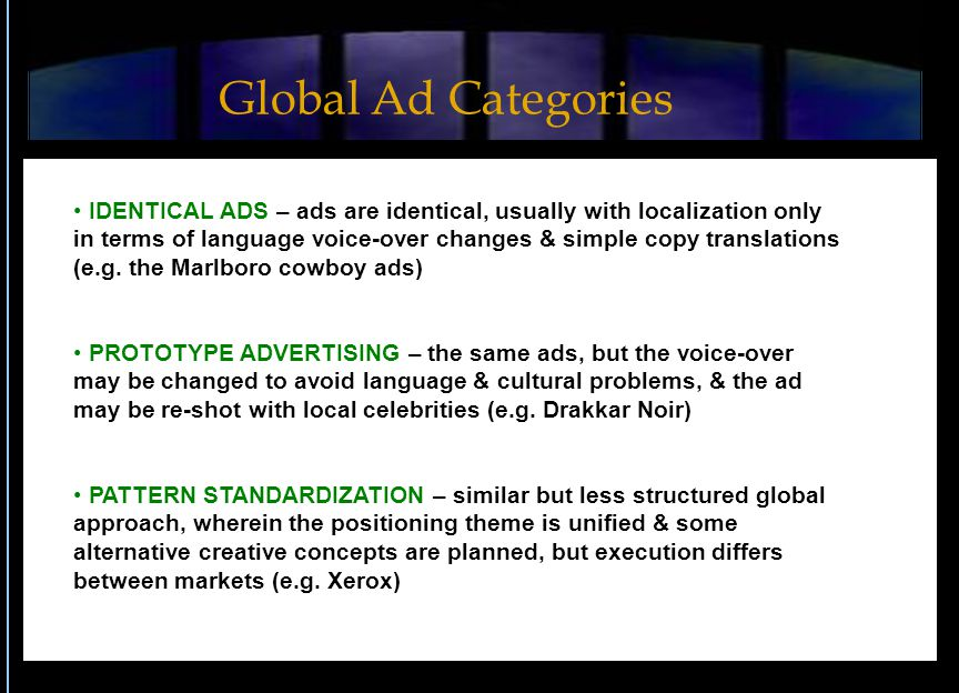 IDENTICAL ADS – ads are identical, usually with localization only in terms of language voice-over changes & simple copy translations (e.g.
