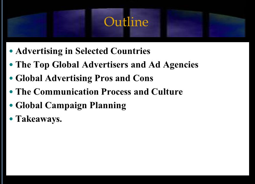 Outline Advertising in Selected Countries The Top Global Advertisers and Ad Agencies Global Advertising Pros and Cons The Communication Process and Culture Global Campaign Planning Takeaways.