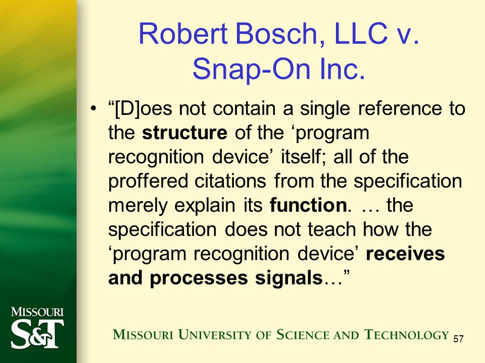 """Robert Bosch, LLC v. Snap-On Inc. """"[D]oes not contain a single reference to the structure of the 'program recognition device' itself; all of the proff"""