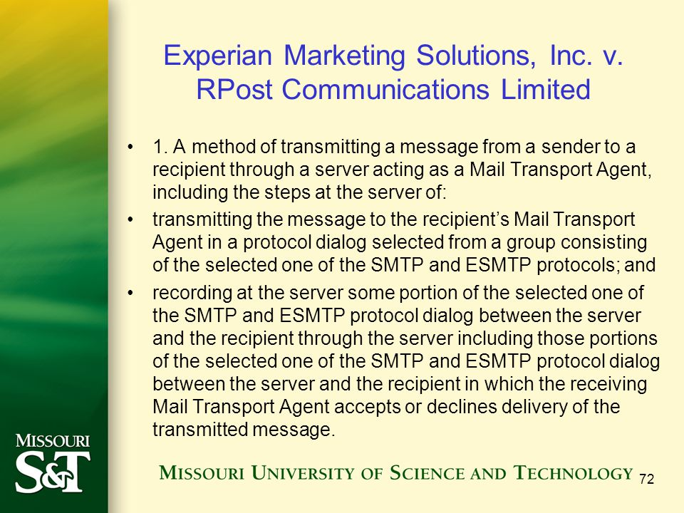 Experian Marketing Solutions, Inc. v. RPost Communications Limited 1.