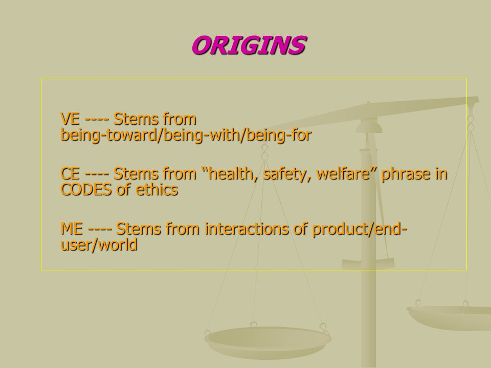 ORIGINS VE ---- Stems from being-toward/being-with/being-for CE ---- Stems from health, safety, welfare phrase in CODES of ethics ME ---- Stems from interactions of product/end- user/world