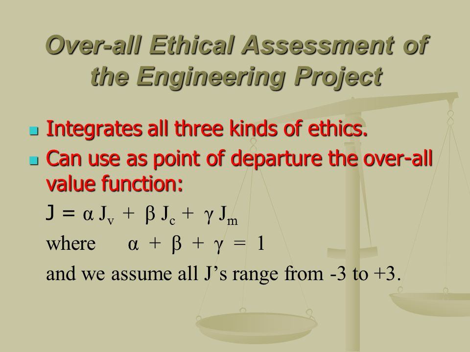 Over-all Ethical Assessment of the Engineering Project Integrates all three kinds of ethics.