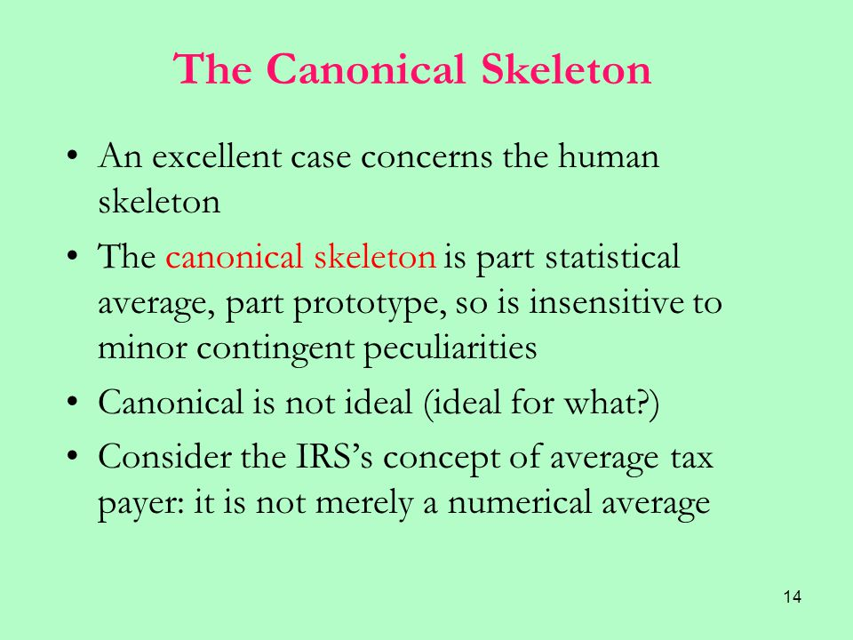 14 The Canonical Skeleton An excellent case concerns the human skeleton The canonical skeleton is part statistical average, part prototype, so is insensitive to minor contingent peculiarities Canonical is not ideal (ideal for what ) Consider the IRS's concept of average tax payer: it is not merely a numerical average