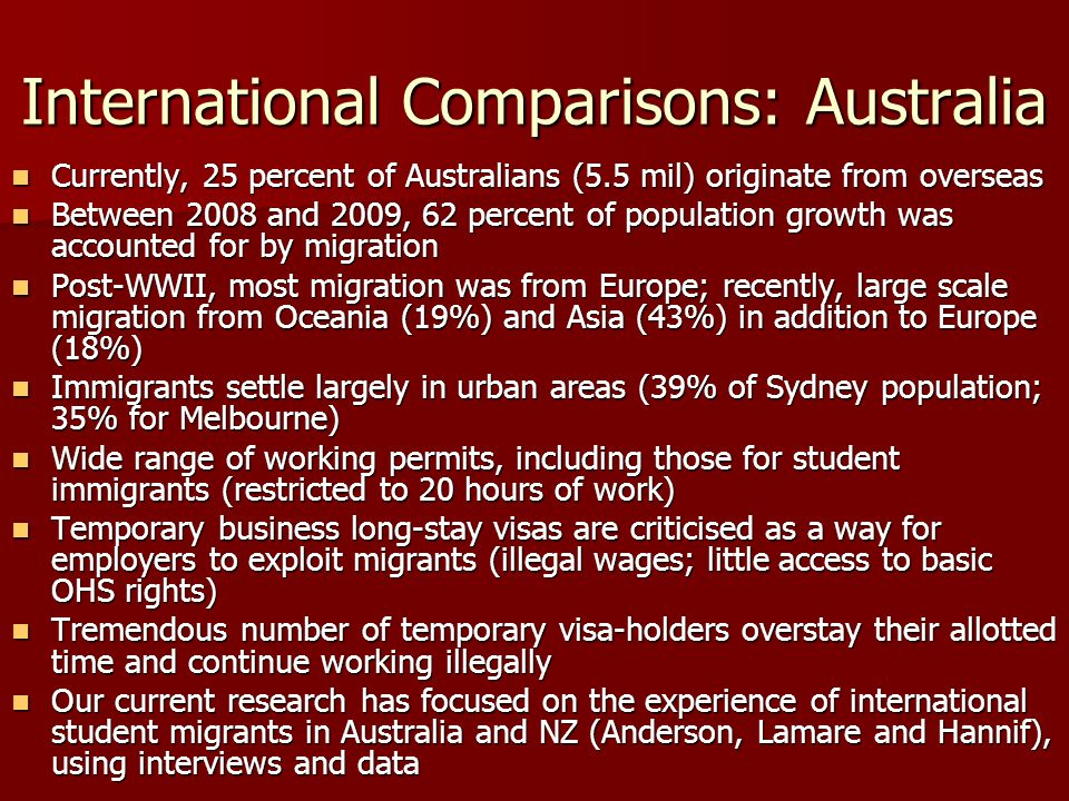 International Comparisons: Australia Currently, 25 percent of Australians (5.5 mil) originate from overseas Currently, 25 percent of Australians (5.5 mil) originate from overseas Between 2008 and 2009, 62 percent of population growth was accounted for by migration Between 2008 and 2009, 62 percent of population growth was accounted for by migration Post-WWII, most migration was from Europe; recently, large scale migration from Oceania (19%) and Asia (43%) in addition to Europe (18%) Post-WWII, most migration was from Europe; recently, large scale migration from Oceania (19%) and Asia (43%) in addition to Europe (18%) Immigrants settle largely in urban areas (39% of Sydney population; 35% for Melbourne) Immigrants settle largely in urban areas (39% of Sydney population; 35% for Melbourne) Wide range of working permits, including those for student immigrants (restricted to 20 hours of work) Wide range of working permits, including those for student immigrants (restricted to 20 hours of work) Temporary business long-stay visas are criticised as a way for employers to exploit migrants (illegal wages; little access to basic OHS rights) Temporary business long-stay visas are criticised as a way for employers to exploit migrants (illegal wages; little access to basic OHS rights) Tremendous number of temporary visa-holders overstay their allotted time and continue working illegally Tremendous number of temporary visa-holders overstay their allotted time and continue working illegally Our current research has focused on the experience of international student migrants in Australia and NZ (Anderson, Lamare and Hannif), using interviews and data Our current research has focused on the experience of international student migrants in Australia and NZ (Anderson, Lamare and Hannif), using interviews and data