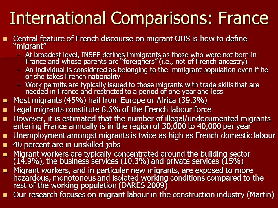 International Comparisons: France Central feature of French discourse on migrant OHS is how to define migrant Central feature of French discourse on migrant OHS is how to define migrant –At broadest level, INSEE defines immigrants as those who were not born in France and whose parents are foreigners (i.e., not of French ancestry) –An individual is considered as belonging to the immigrant population even if he or she takes French nationality –Work permits are typically issued to those migrants with trade skills that are needed in France and restricted to a period of one year and less Most migrants (45%) hail from Europe or Africa (39.3%) Most migrants (45%) hail from Europe or Africa (39.3%) Legal migrants constitute 8.6% of the French labour force Legal migrants constitute 8.6% of the French labour force However, it is estimated that the number of illegal/undocumented migrants entering France annually is in the region of 30,000 to 40,000 per year However, it is estimated that the number of illegal/undocumented migrants entering France annually is in the region of 30,000 to 40,000 per year Unemployment amongst migrants is twice as high as French domestic labour Unemployment amongst migrants is twice as high as French domestic labour 40 percent are in unskilled jobs 40 percent are in unskilled jobs Migrant workers are typically concentrated around the building sector (14.9%), the business services (10.3%) and private services (15%) Migrant workers are typically concentrated around the building sector (14.9%), the business services (10.3%) and private services (15%) Migrant workers, and in particular new migrants, are exposed to more hazardous, monotonous and isolated working conditions compared to the rest of the working population (DARES 2009) Migrant workers, and in particular new migrants, are exposed to more hazardous, monotonous and isolated working conditions compared to the rest of the working population (DARES 2009) Our research focuses on migrant labour in th
