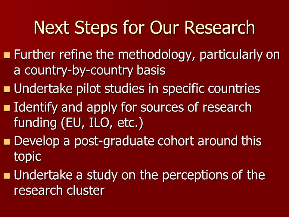 Next Steps for Our Research Further refine the methodology, particularly on a country-by-country basis Further refine the methodology, particularly on a country-by-country basis Undertake pilot studies in specific countries Undertake pilot studies in specific countries Identify and apply for sources of research funding (EU, ILO, etc.) Identify and apply for sources of research funding (EU, ILO, etc.) Develop a post-graduate cohort around this topic Develop a post-graduate cohort around this topic Undertake a study on the perceptions of the research cluster Undertake a study on the perceptions of the research cluster