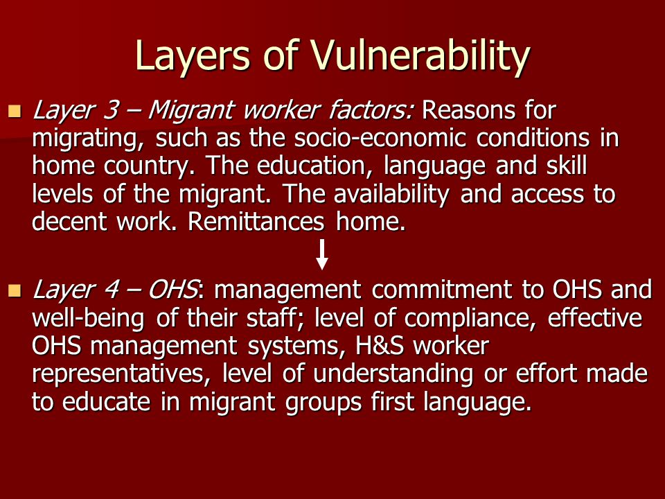 Layers of Vulnerability Layer 3 – Migrant worker factors: Reasons for migrating, such as the socio-economic conditions in home country.
