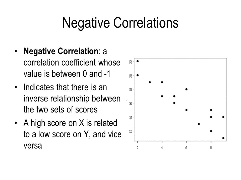 Negative Correlations Negative Correlation : a correlation coefficient whose value is between 0 and -1 Indicates that there is an inverse relationship