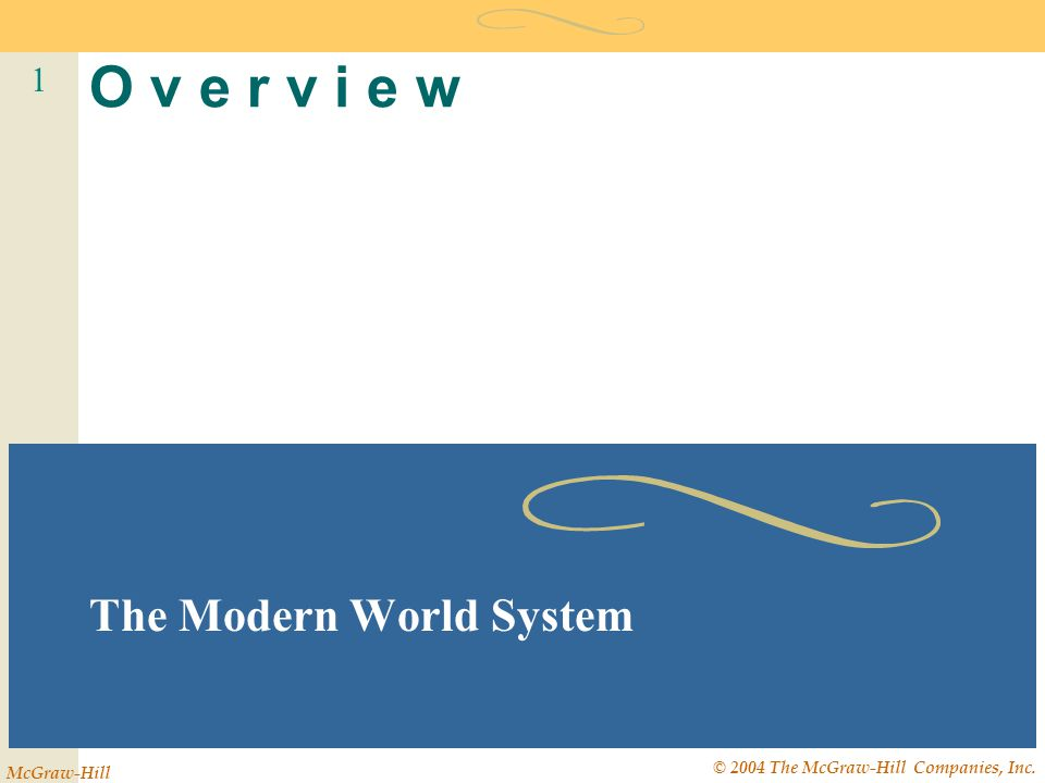 1 McGraw-Hill © 2004 The McGraw-Hill Companies, Inc. O v e r v i e w The Modern World System