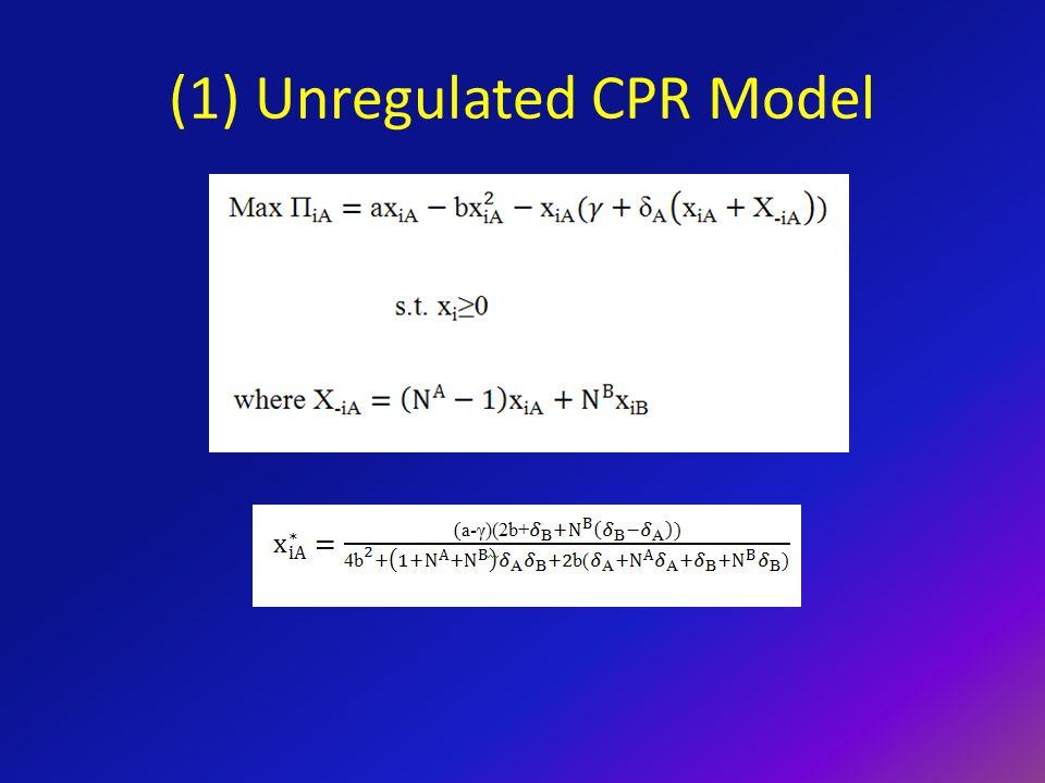 Regulated CPR Model – Non-Cooperative Lobbying Lobbying expenditures to increase a proposed regulation are as follows: When δ A > δ B, we note (1) the preferred regulation for Group A is smaller than for Group B and (2) the region about the preferred regulation in which lobbying is unprofitable is smaller for Group A than for Group B.