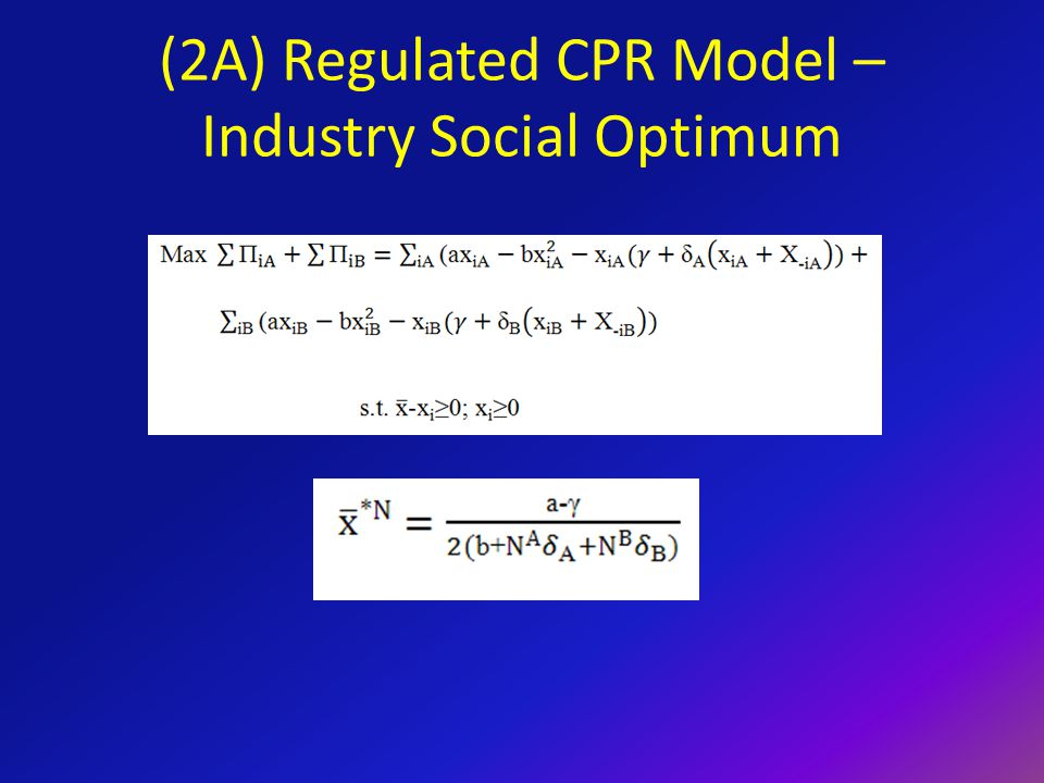 Regulated CPR Model – Non-Cooperative Lobbying Lobbying expenditures to decrease a proposed regulation are as follows: A boundary does exist where an individual would NOT want to lobby using these equations.