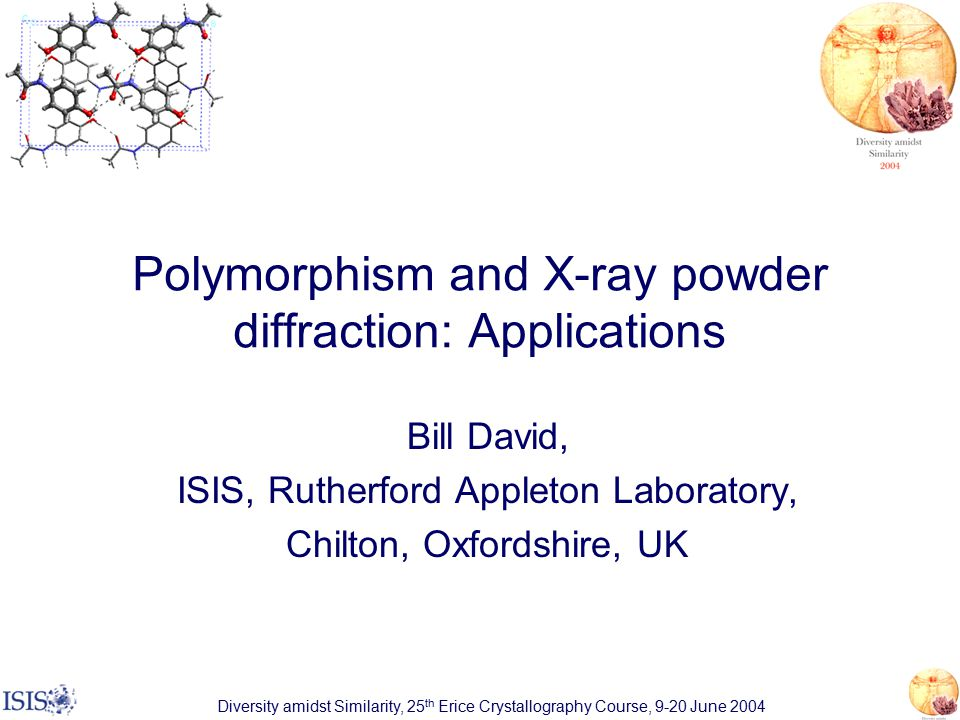 Polymorphism and X-ray powder diffraction: Applications Bill David, ISIS, Rutherford Appleton Laboratory, Chilton, Oxfordshire, UK