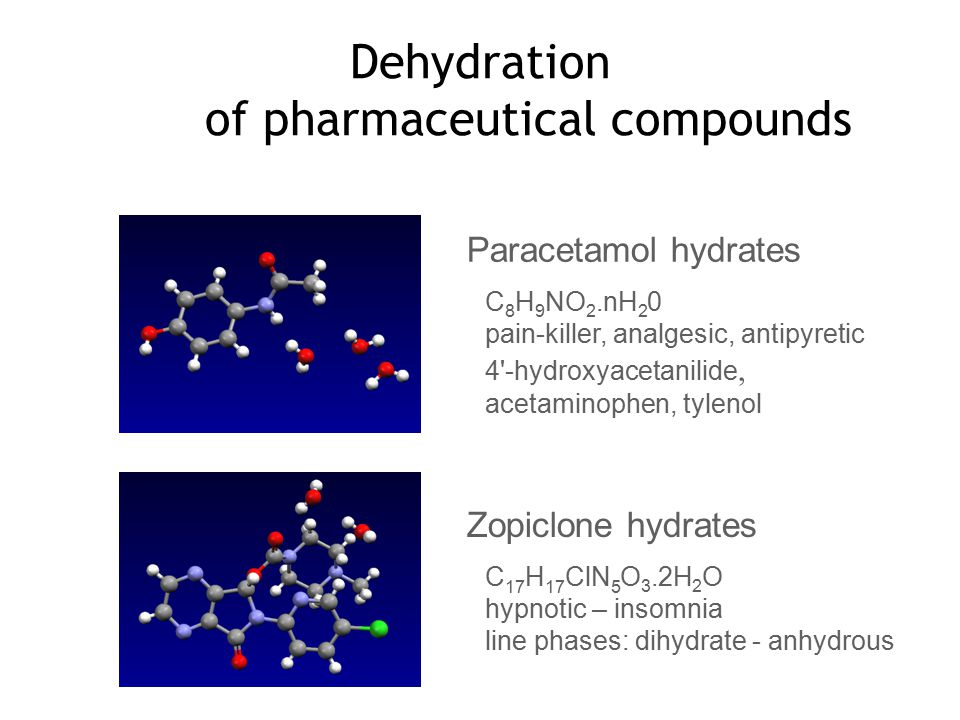 Dehydration of pharmaceutical compounds Zopiclone hydrates C 17 H 17 ClN 5 O 3.2H 2 O hypnotic – insomnia line phases: dihydrate - anhydrous Paracetamol hydrates C 8 H 9 NO 2.nH 2 0 pain-killer, analgesic, antipyretic 4 -hydroxyacetanilide, acetaminophen, tylenol