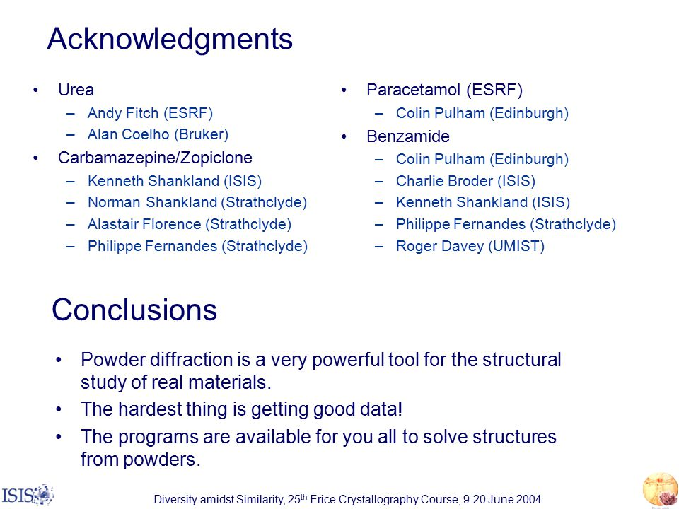 Diversity amidst Similarity, 25 th Erice Crystallography Course, 9-20 June 2004 Acknowledgments Urea –Andy Fitch (ESRF) –Alan Coelho (Bruker) Carbamazepine/Zopiclone –Kenneth Shankland (ISIS) –Norman Shankland (Strathclyde) –Alastair Florence (Strathclyde) –Philippe Fernandes (Strathclyde) Paracetamol (ESRF) –Colin Pulham (Edinburgh) Benzamide –Colin Pulham (Edinburgh) –Charlie Broder (ISIS) –Kenneth Shankland (ISIS) –Philippe Fernandes (Strathclyde) –Roger Davey (UMIST) Conclusions Powder diffraction is a very powerful tool for the structural study of real materials.