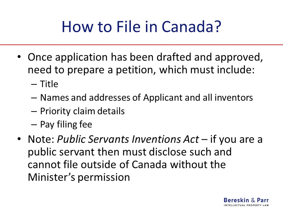 How to File in Canada.