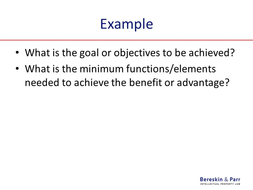 Example What is the goal or objectives to be achieved.