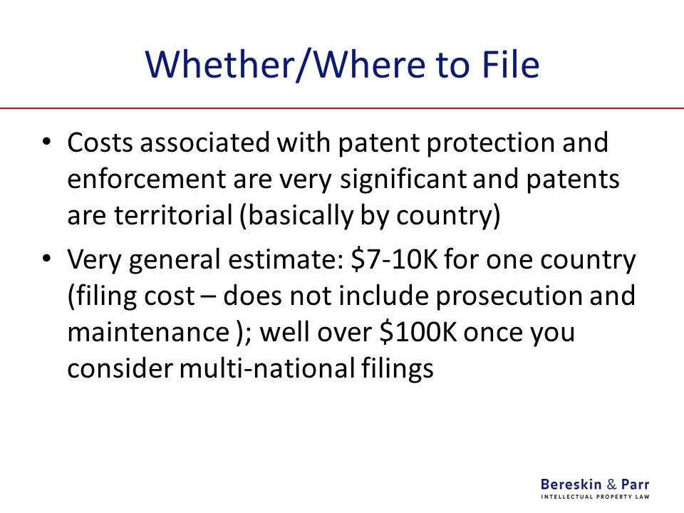 Whether/Where to File Costs associated with patent protection and enforcement are very significant and patents are territorial (basically by country) Very general estimate: $7-10K for one country (filing cost – does not include prosecution and maintenance ); well over $100K once you consider multi-national filings