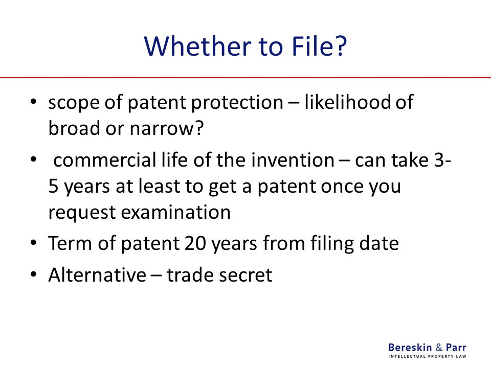 Whether to File. scope of patent protection – likelihood of broad or narrow.