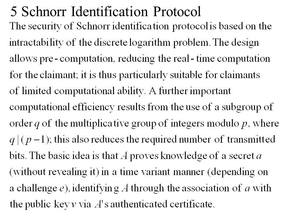 5 Schnorr Identification Protocol