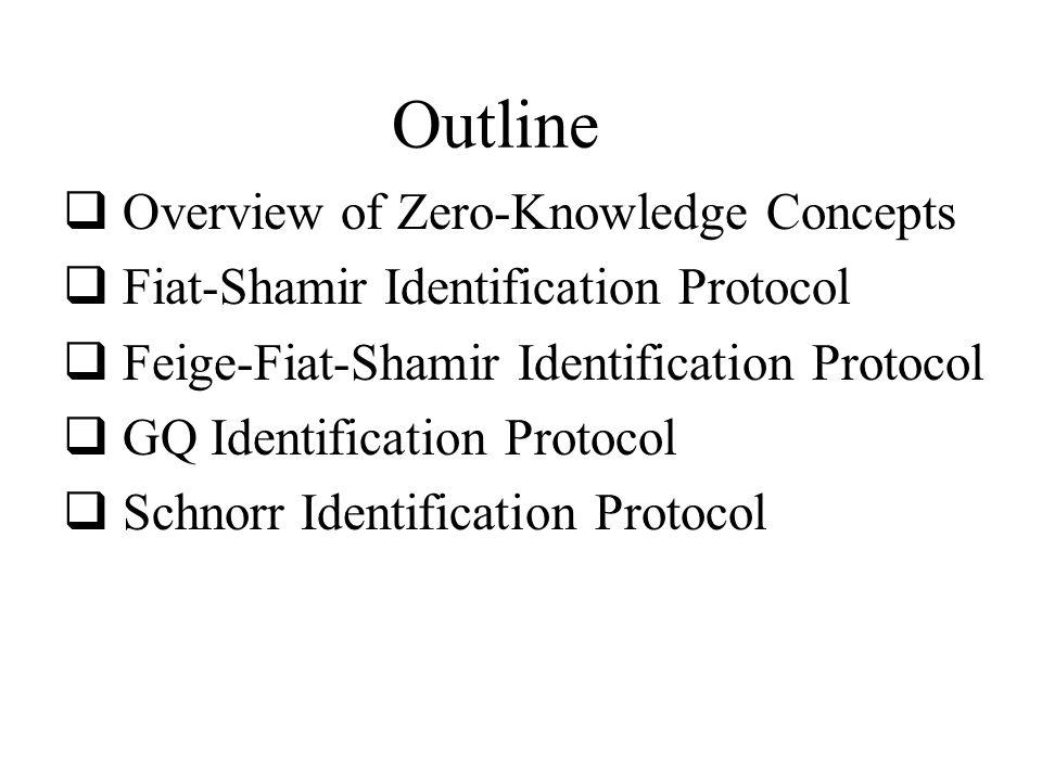 1 Overview of Zero-Knowledge Concepts 1.1 Idea