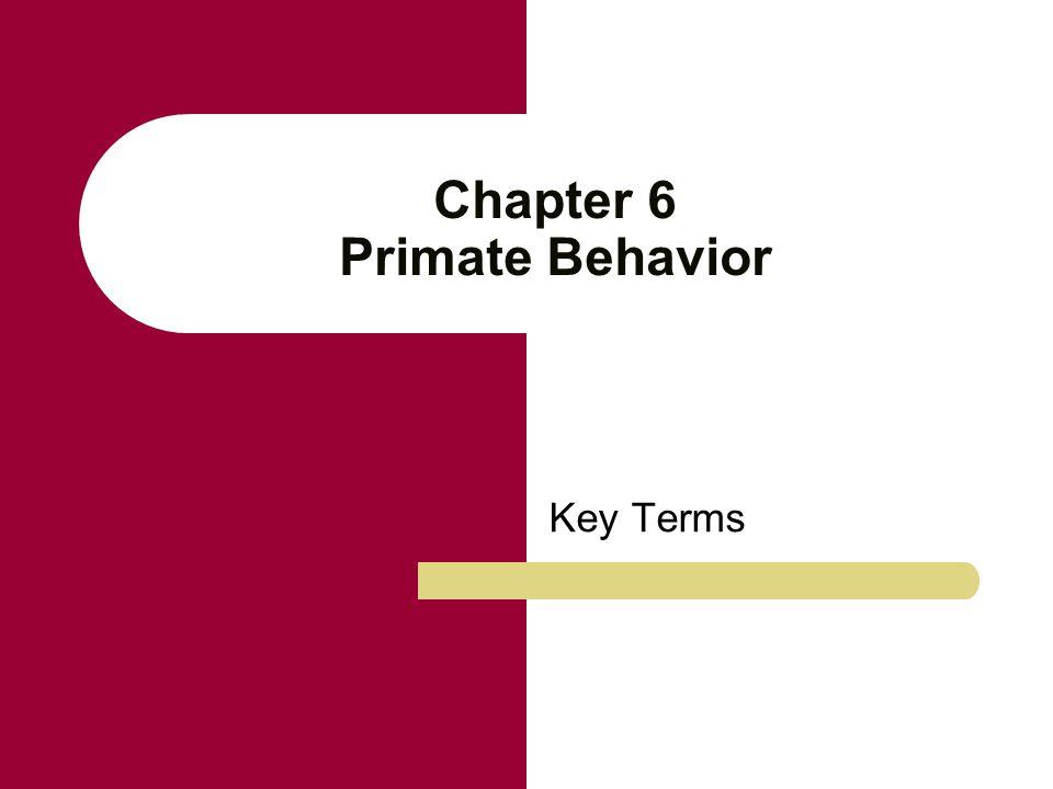 Chapter 6 Primate Behavior Key Terms